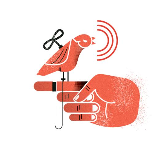 fugl på fingeren som plystrer